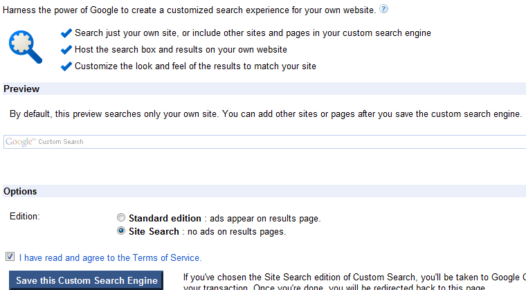 Create and manage custom search engines from within Google
