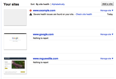 Google site health check